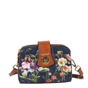 NICOLE LEE CASSIA DENIM FLOWER MINI CROSSBODY BAG